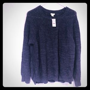 J crew navy sweater. Size xl. New but see pics.